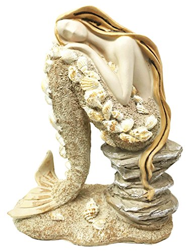 Beautiful Ocean Atlantis Goddess Sitting Mermaid Adorned With Shells Figurine Collectible (Atlantis Resin)
