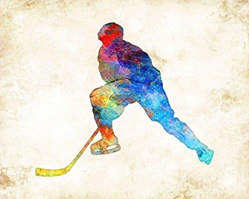 Hockey Player Watercolor Art Print by Dan Morris