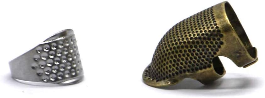 1 Ring Thimble /& 1 Medium Size Fingertip Thimble FitHom Sewing Thimble,Metal Retro Copper Adjustable Sewing Thimble Finger Protector,DIY Sewing Thimble Quilting Craft Accessories Needle Safety Tools