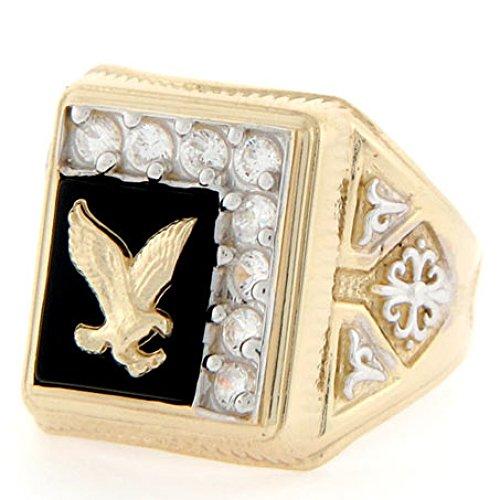 14k Gold 10 X 8mm Rectangular Onyx Eagle CZ Mens Ring