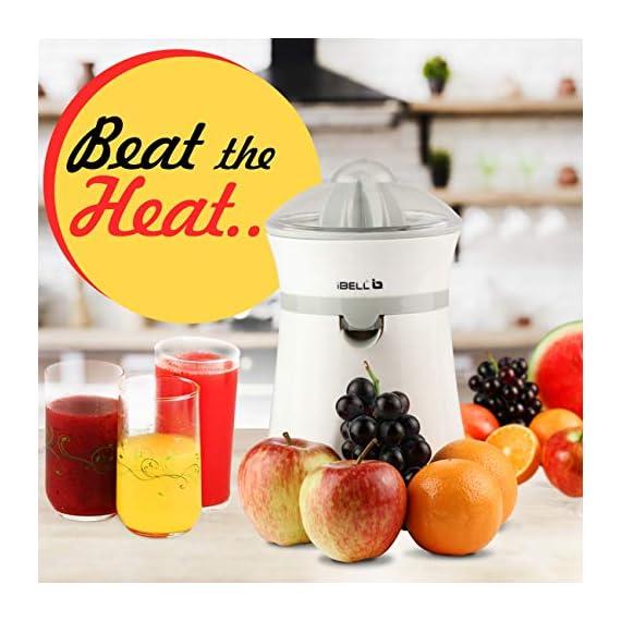 iBELL JU400SG Electric Citrus Fruit Juicer, 20 Watt Juice Maker, Orange Juicer with High Grade Copper Motor, 2 Small Type Squeezers (White) 7