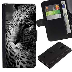 KingStore / Leather Etui en cuir / Samsung Galaxy S5 Mini, SM-G800 / Los puntos del leopardo Piel animal Blanco Negro