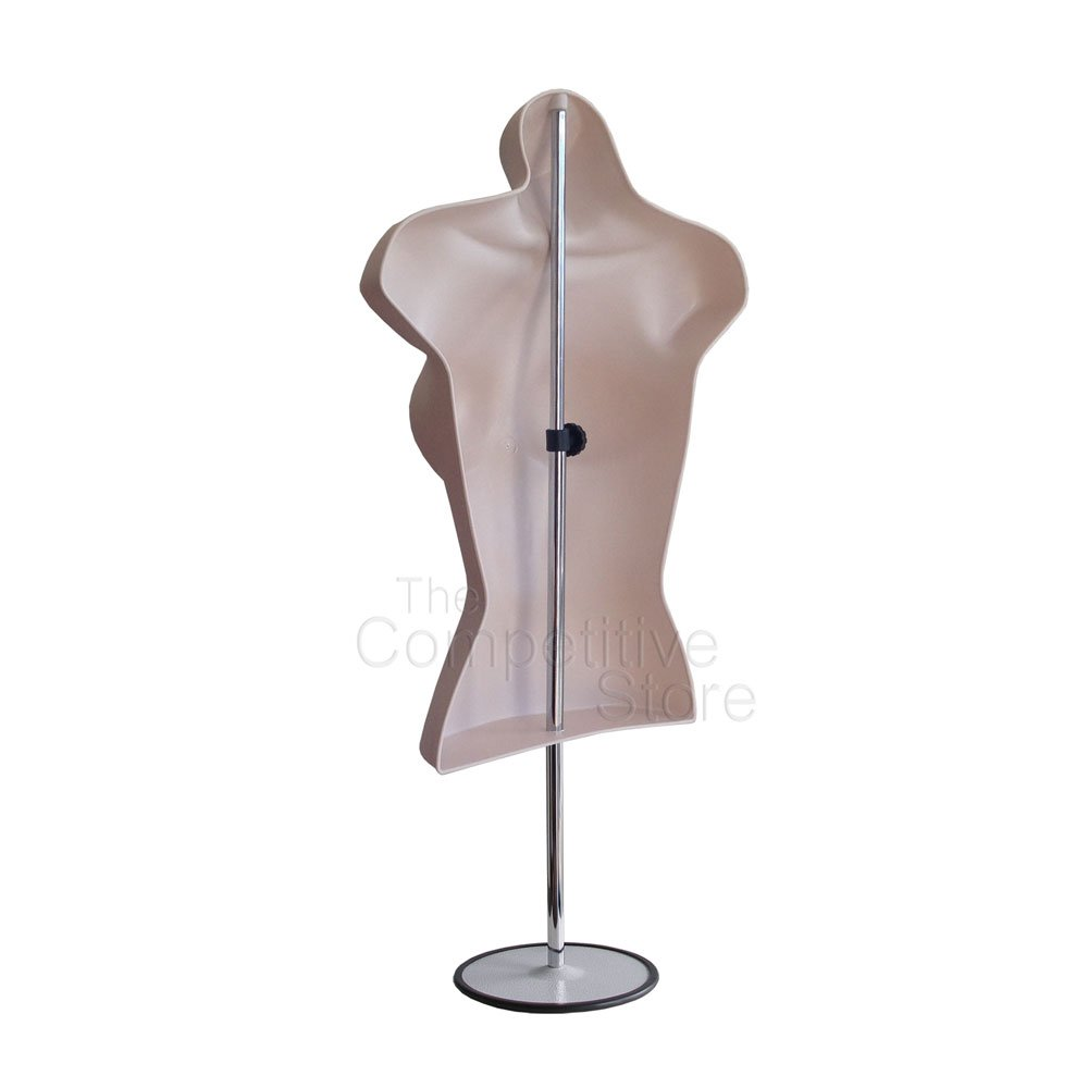 3-Pack Female Mannequin Torso Easy to Assemble and Store Dress Form Hollow Back Body Tshirt Display Photos or Design w//Metal Stand for Counter Top by EZ-Mannequins for Craft Shows S-M Sizes.
