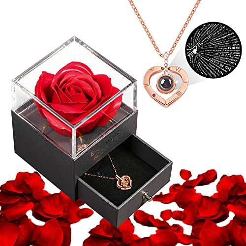 I Love You Gifts For Her With Preserved Rose I Love You Necklace 100 Languages For Anniversary Birthday Valentines Day Wedding Romantic Gifts For Her Mom Girlfriend Wife Women