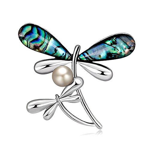 Fashion Dragonfly Cat Scorpion Lizard Gecko Brooch Pin with Abalone Shell Silver Animal Brooch Pin (Dragonfly)