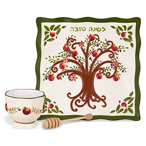 Rosh Hashanah Honey Dish - Ceramic Plate & Bowl Set With Tree of Life Design, Includes Wooden Dipper