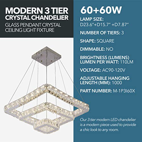 Modern 3 Tier Crystal Chandelier - 60W Warm White & 60W Cool White Contemporary Indoor Ceiling Lighting,120W Combined Lighting Wattage - 13200LM Glass Pendant Crystal Ceiling Light Fixture