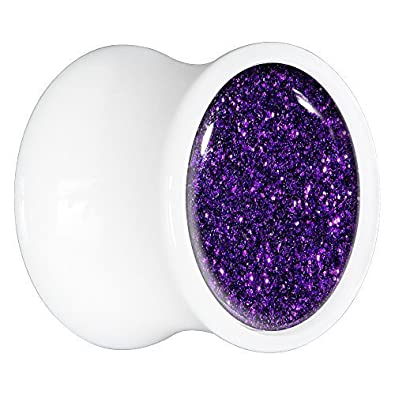 BodyCandy Acrílico Blanco Morado Purpurina Dilatador Par 20mm: Amazon.es: Joyería