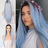 Best Lace Front Wigs - Black Ombre Blue Long Straight Glueless Cosplay Party Review