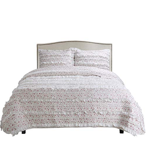 Rosa Duvet Cover - vivinna home textile 3-Colours-Rosa Microfiber Printing Ruffle King Quilt Sets Reversible Bedspread Coverlet Throw Bed Cover