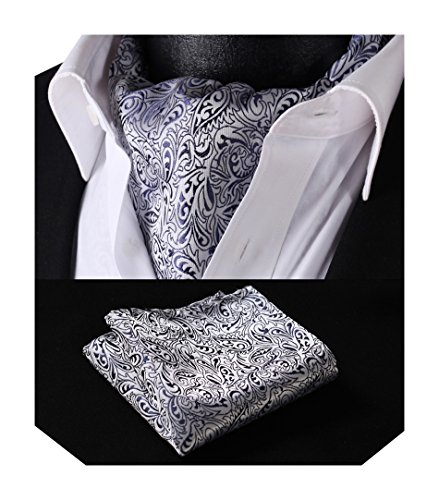 Ascot Set Floral Blue Men's Woven Navy HISDERN White Jacquard zIHnq