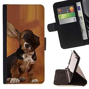 - HOUND BROWN DOG PUPPY BASSET EARS LONG - - Prima caja de la PU billetera de cuero con ranuras para tarjetas, efectivo desmontable correa para l Funny HouseFOR LG G2 D800