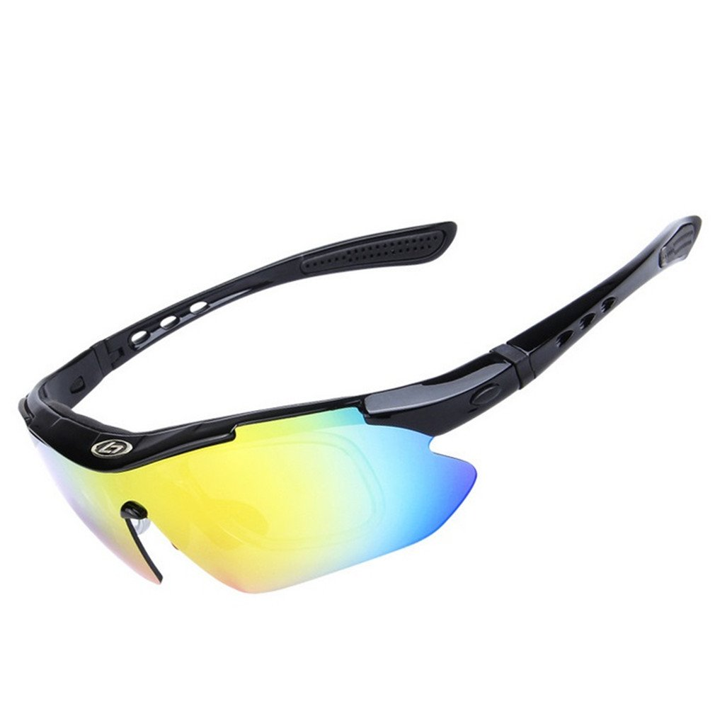 Lorsoul 偏光UV保護スポーツメガネ サイクリング ラップサングラス 交換可能なレンズ5個付き ライディング ドライビング 釣り ランニング ゴルフ すべてのアウトドア活動用  ブラック B0728J13V1