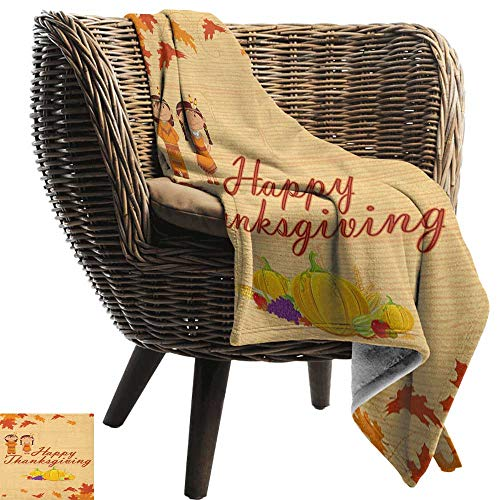 AndyTours Flannel Throw Blanket,Kids Thanksgiving,Children in Native American Costume Preserving Indigenous Heritage, Orange Multicolor,for Bed & Couch Sofa Easy Care 70