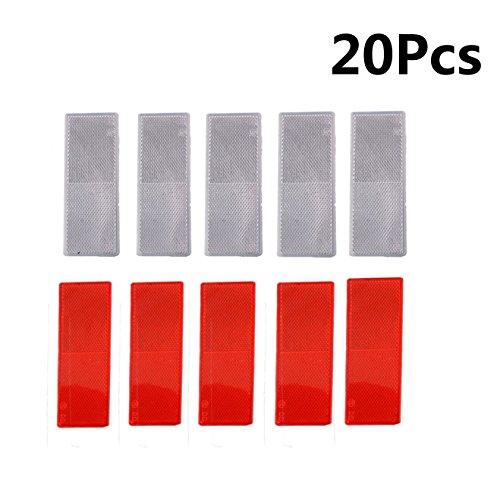 MOSA STORE Plastic Reflector Stick-on Car Reflector Sticker(10Pcs Red ,10Pcs -