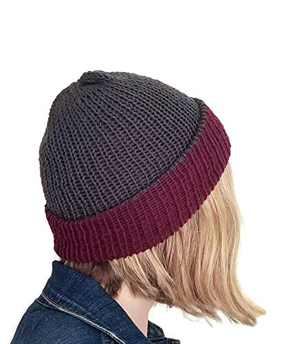 (Mens Beanie Reversible Burgundy and Grey Merino Wool with Brim)
