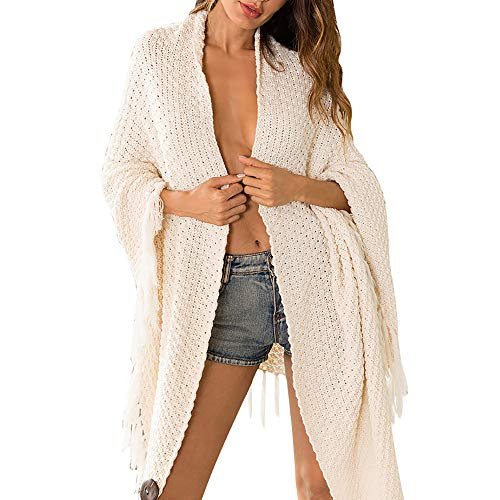 Leoy88 Women's Knitted Fringe Sweater Long Cardigan ()
