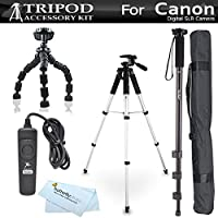 Tripod Kit For Canon EOS 60D, T5i, t5, T4i, T2i, T3i, XS, XSi, G10, G11, G12, SX60HS, SX60 HS Digital SLR Camera Includes 57 Pro Tripod + 10 Flexible Gripster + 67 Monopod + RS60 Remote Switch