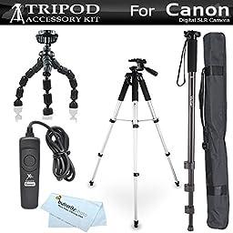 Tripod Kit For Canon EOS 60D, T5i, t5, T4i, T2i, T3i, XS, XSi, G10, G11, G12, SX60HS, SX60 HS Digital SLR Camera Includes 57\