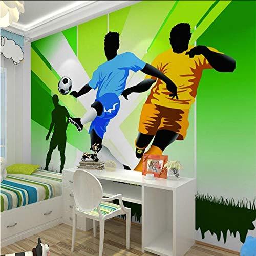 Dalxsh Children's Room Wall Paper Stickers Cartoon Football Photo Wallpaper Murals 3D Kids Bedroom/ Silk Wallpaper350X250Cm