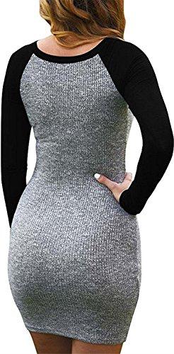 Kissky TShirt Black Long Dress Women's Sleeve Bodycon wxw1FUf