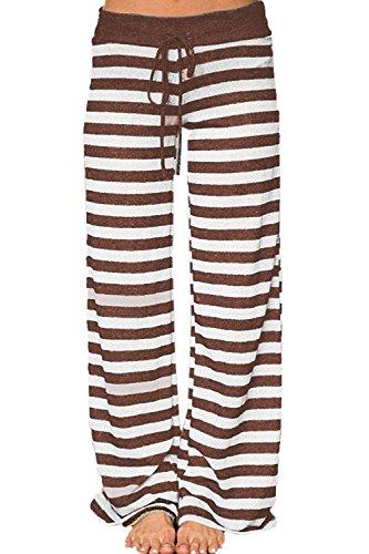 Artfish Women's Stretch Cotton Pajama Lounge Pants Striped Sleepwear (Brown (Striped Pajama Pants)