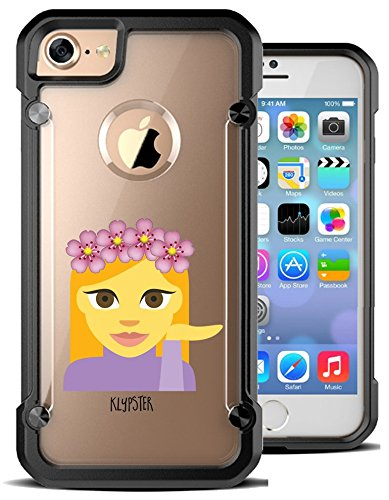 iPhone 7 Case Cute Floral Crown Waitress Princess Waiter Girly Hybrid Transparent Designer Case Cover For Teens Girls Women. Fits iPhone 7 7S [ KlypsterMax ]