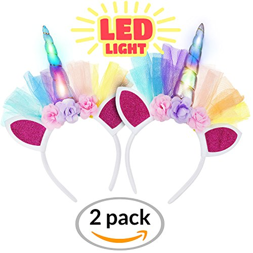 LED Unicorn Headband 2 Piece Set for Toddlers, Children, Teens, And Adults For Party. Decorative Floral Headpiece Long Lasting Flashing Lights. Glow In The Dark With On/Off Switch.