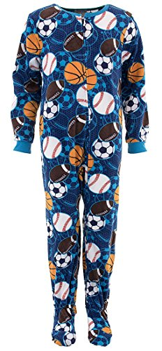 Komar Kids Big Boys' Sports Blanket Sleeper, Blue/Multi, Large
