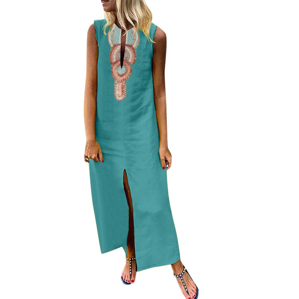 Mysky Summer Women Popular National Style Print V-Neck Split Hem Sleeveless Comfy Linen Baggy Kaftan Long Dress Green