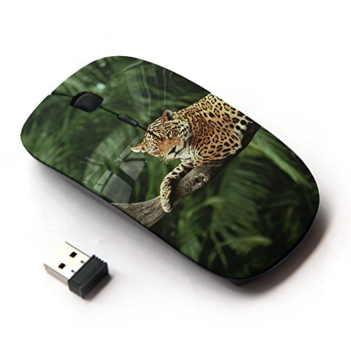Optical Mice Mobile Wireless Mouse 2.4G Portable for Notebook, PC, Laptop, Computer, Macbook (Leopard Tree Jungle Rainforest Trees Big Cat)