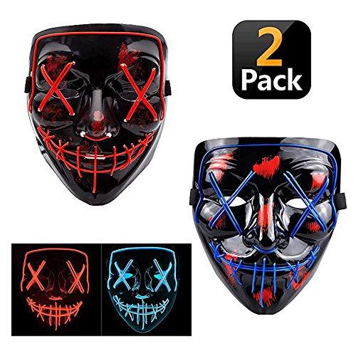 2 Pack Halloween Scary Mask LED Mask