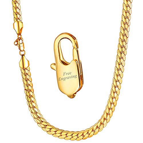 - U7 Men Chunky Necklace 18KGP Stamp Hip Hop Jewelry 9MM Wide Gold Plated Thick Chain - 32 Inches,with Personalized Custom Stamp Service
