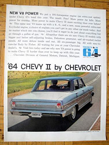 1964 Chevrolet Chevy II 195 HP V-8 4 Door Sedan Original 13.5 * 10.5 Magazine Ad