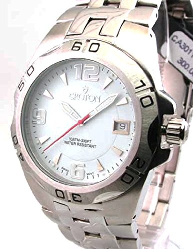 Mens Croton Steel Swiss 10 Atm Date Watch CA301149SSDW