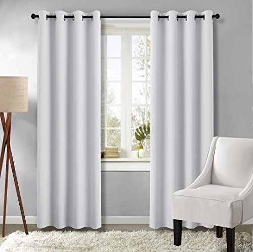 Greyish White Blackout Curtain Panels - (Greyish White) 52 by 84-Inch, 1 Pair, Thermal Insulated Solid Grommet Blackout Drapes / Draperies by NICETOWN