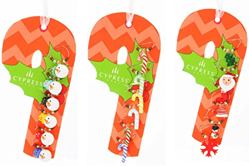 Christmas Holiday Wine Glass Charms on Candy Cane Gift Tag, 3 Assorted
