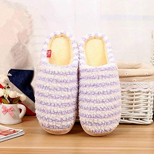 Purple JaHGDU Ladies Slippers Indoors to Keep Wwarm in Autumn and Winter Leisure Cotton Slip Slippers Cute Stripe Pattern Female Flip Flop