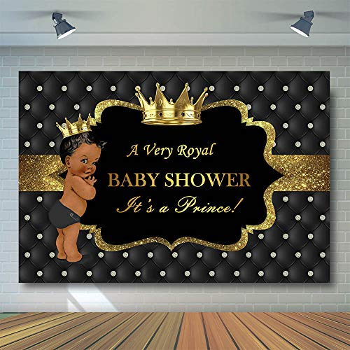 COMOPHOTO Royal Prince Baby Shower Photography Backdrop Gold Crown Little Prince Royalty Black Background 7x5ft Party Banner Candy Table Decorations]()