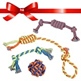 Rope Dog Toys - Set of 4 Different Toys For Large and Small Dogs - Suitable For Agressive Chewers - 100% Cotton - With Ball - Thick Teething Rope - Tug-of-War Toy and Fetching Bone