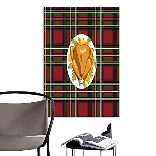 Art Print Paintings ModernRoasted turkey bird on oval plate with fir tree branches and orange slices decoration on tartan plaid festive tablecloth Top view Thanksgiving or Christmas holiday food.jpg -