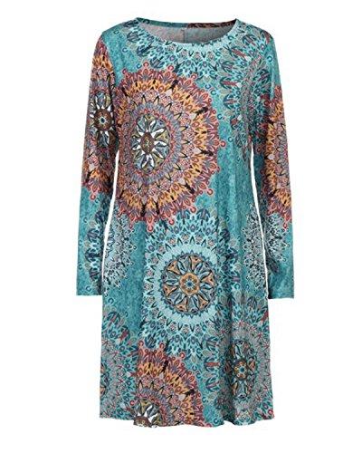 Green A Florals 4 AELSON Dress Sleeve Print Casual Womens 3 wx0qSfA