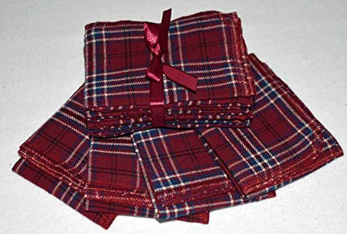Brushed Cotton Handkerchiefs 14x14 Inch Set of 4 Checkered Assortment of Maroon and Blue