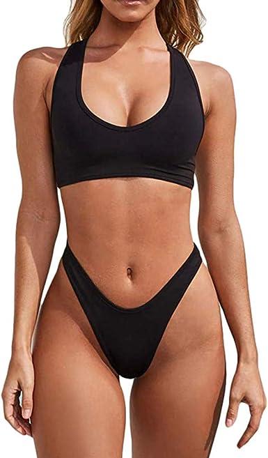Amazon Com Diomor Women S Sexy High Waist Thong 2 Piece Bikini Racer Back Low Cut Tank Tops Bathing Suit Swimsuit Cheeky Swimwear Clothing