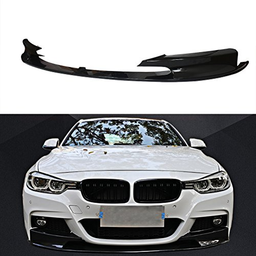 NINTE for 2012-2018 BMW F30 3-Series M-Tech Front Bumper Lip - Painted Gloss Black Sport Front Spoiler - 2pcs