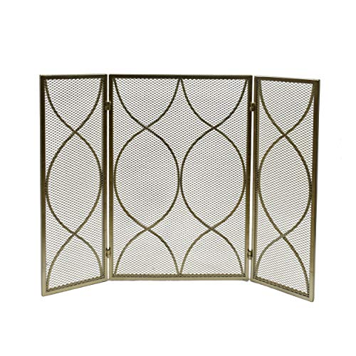 Iron Firescreen - Great Deal Furniture 309134 Laylah Modern Three Panel Iron Firescreen, Gold Finish,