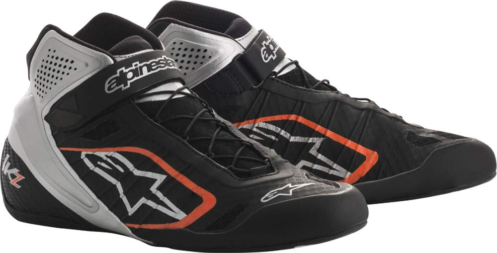 Alpinestars Tech 1-KZ Karting Shoes (Size: 10.5, Black/Silver/Orange)