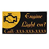 Engine Light On Outdoor Fence Sign Vinyl Windproof Mesh Banner With Grommets - 2ftx3ft, 4 Grommets