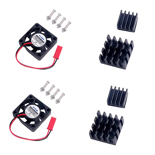 Heatsink Heat Sink + External Cooling Fan Kit for Raspberry Pi Model B B+ B Plus 2 3 3+ Geekstory(2 Pack)