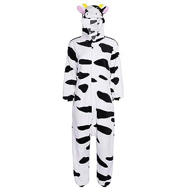79f4a258ec28e TiaoBug Unisexe Adulte Grenouillères Vache Déguisement Animal Pyjama Body  Combinaison à Capuche Flanelle Vêtement de Nuit